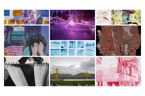 Collage of various artwork including painting, photography, and digital art