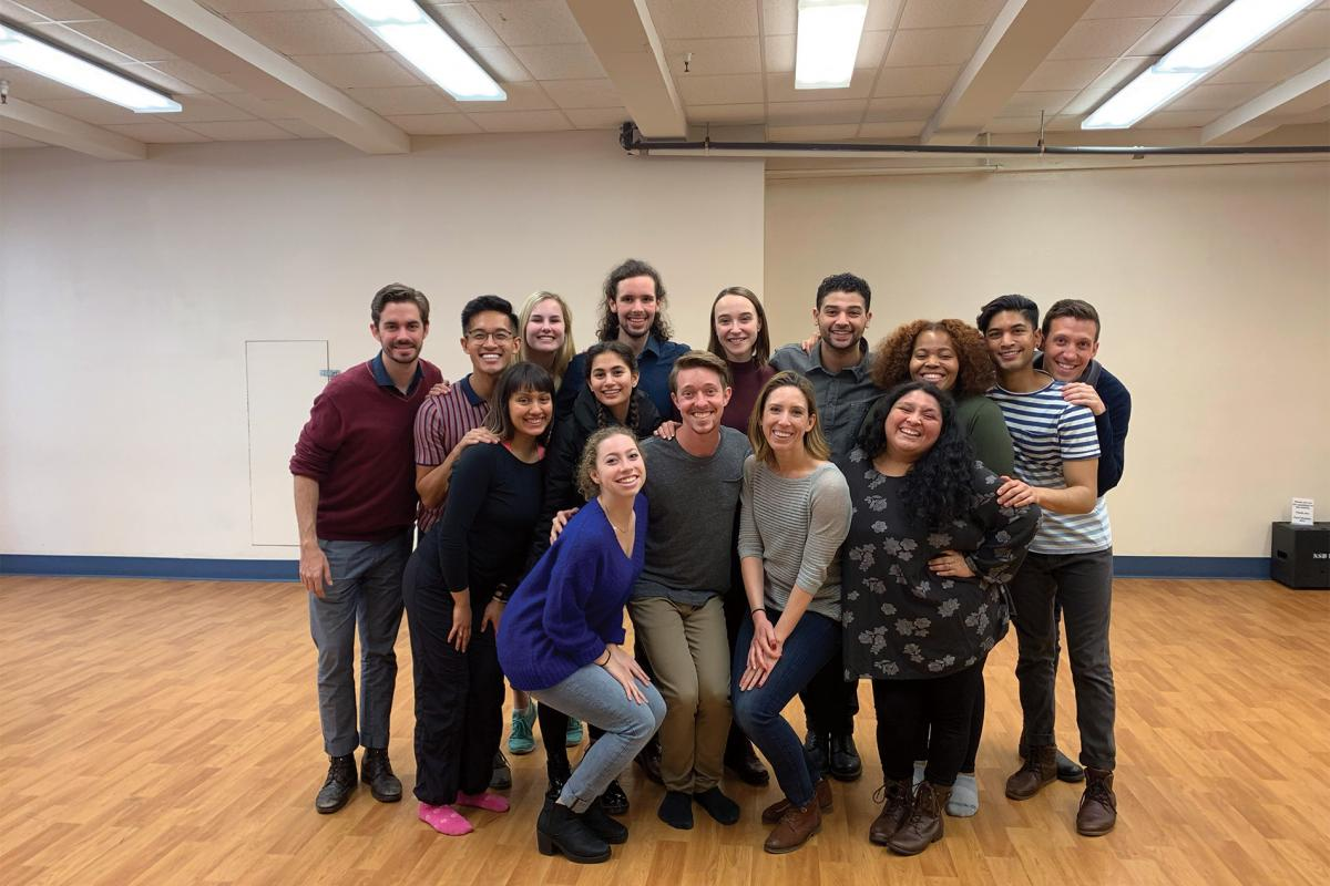 Tadros with his classmates during UCI Drama's Spring 2019 New York Satellite Program. (Top, from left to right) Leslie Wickham, Patrick Maravilla, Lizzie Menzies, Chad Watkins, Veronica Renner, Isaiah Tadros, Mariah Bakaimani, Shahil Patel, McKay Mangum. (Bottom, from left to right) Milan Migaña, Zoie Tannous, Kristen Powell, Aaron Miller, Hayley Palmer (M.F.A. '14), Olivia Pech.
